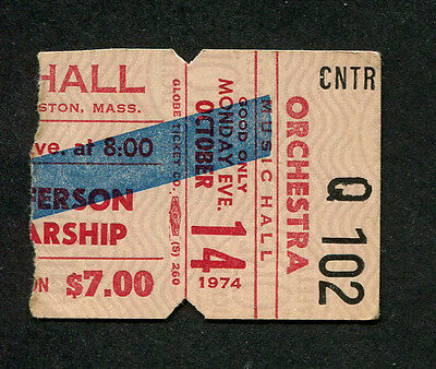 Original 1974 Jefferson Starship Concert Ticket Stub Boston Dragon Fly