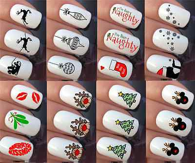 Christmas Nail Art Stickers Decals Water Transfers Reindeer Snowflake Snowmen