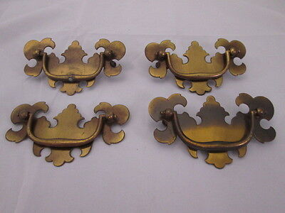 "Brass Drawer Pulls Set of 4 Fancy Designs 3"" Distance Between Posts"