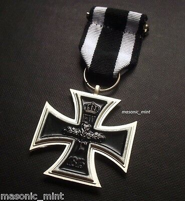 Iron Cross Medal - 1914 German Military Repro + Ribbon ( 2Nd Class ) - Ww1 Wwi