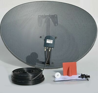 Zone 2 Satellite dish & Octo LNB & 50m Black Twin Coax Cable Kit For Sky HD