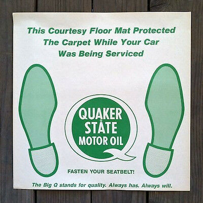 4 Vintage Original QUAKER STATE OIL Paper Floor Mat 1950s Unused NOS Old Stock