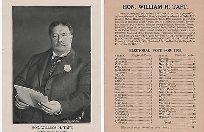 2-Sided Repub Nominee William H. TAFT Portrait & 1908 Electoral Vote Tally Sheet