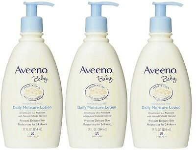 3 Pack AVEENO Baby Daily Moisture Lotion Fragrance Free 12 oz Each