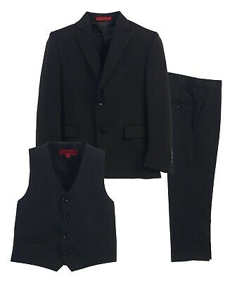 Kids Formal 3 Piece Set Pants,Vest,Jacket Kids Boys Size 5-20 Black Charcoal New