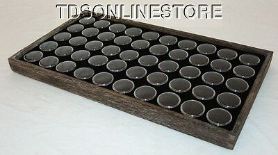 Rustic Coffee Color Wood Tray With 50 Gem Jars And Foam Insert Black