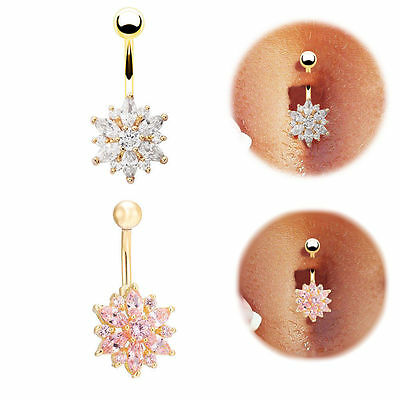 Flower Rhinestone Crystal Barbells Navel Belly Bar Button Ring Body Piercing