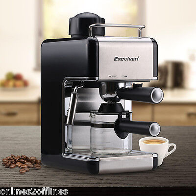 Professional Espresso Cappuccino Latte Coffee Maker Machine Stainless Steel 4Cup