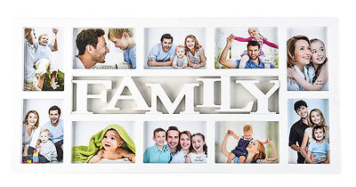 White Family 10 Multi Aperture Photo Picture Frame Holds 6''X 4'' Photos CL-9623