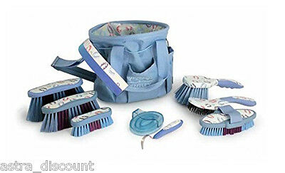 Bentley Equestrian Patterns 10 Piece Horse Grooming Shoe Set Blue
