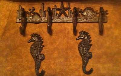 (Set Of 3) Sea Horse Cast Iron Wall Hooks With Two Singlecast Iron Seahorse Hook