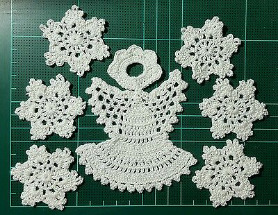 "Lot of 7 Handmade Thread Crochet Christmas Angel 4.5"" & Snowflakes 2"" White"