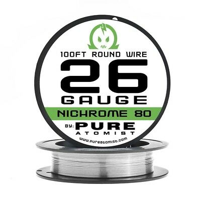 100ft - Nichrome 80 26 Gauge AWG Round Wire Roll - 0.40mm 26g 100' Spool N80