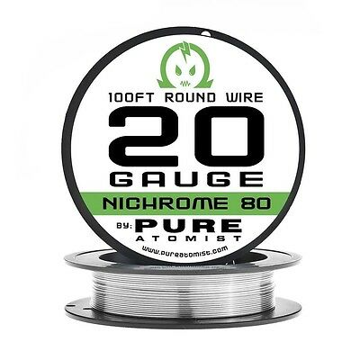 100ft - Nichrome 80 20 Gauge AWG Round Wire Roll - 0.81mm 20g 100' Spool N80