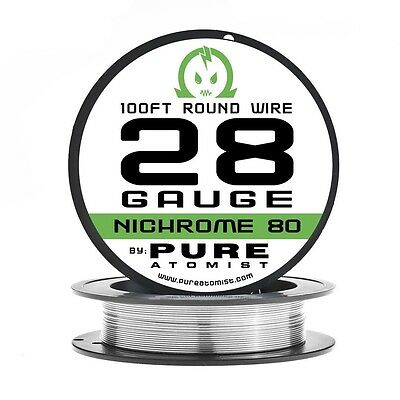 100ft - Nichrome 80 28 Gauge AWG Round Wire Roll - 0.35mm 28g 100' Spool N80