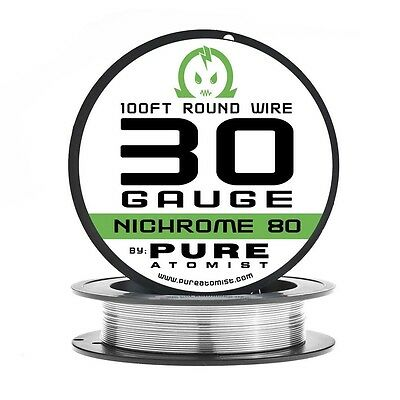 100ft - Nichrome 80 30 Gauge AWG Round Wire Roll - 0.25mm 30g 100' Spool N80
