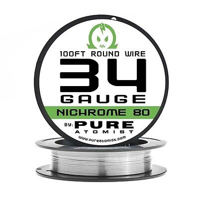 100ft - Nichrome 80 34 Gauge AWG Round Wire Roll - 0.16mm 34g 100' Spool N80