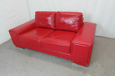 two seater plain red fabric modern sofa will seat up to 3