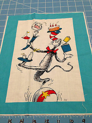 "Fabric Dr Seuss Cat in the Hat Cat Balance Act Quilt Sq 11 1/2"" X 8  1/2"""
