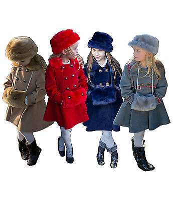 Girls 3 Piece Winter Outfit, Girls Coat Hat Bag Hand warmer Set by Couche Tot