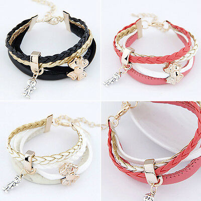 Boys Bow Shape Wristlets PU Leather Bangle Bracelet Children Pretty Baby Girls