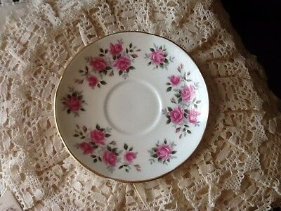 Royal China Springfield Made In England Saucer Pink Roses Shabby Chic