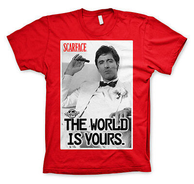 Scarface The World is Yours Al Pacino Tony Montana Männer Men T-Shirt Rot Red