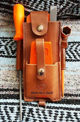 Handmade Amish Logger Leather felling/falling wedge Timber cutter Pouch w/tools