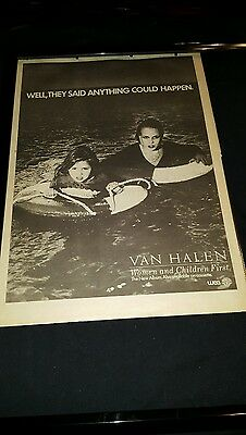 Van Halen Rare Original Women And Children First U.K. Promo Poster Ad Framed!