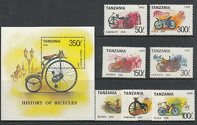 Stamps 1992 Tanzania bicycles set of 7 plus mini sheet MUH, nice thematics