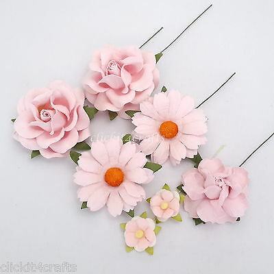 45 Pink Roses Daisies Mulberry Paper Flowers Wedding Gift Scrapbooking ZM7-2