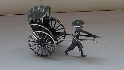 Antique solid silver miniature Chinese rickshaw,marked
