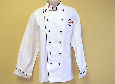 New Nfl Pittsburgh Steelers Premium Chef Coat 100% Cotton L Size Football Chief