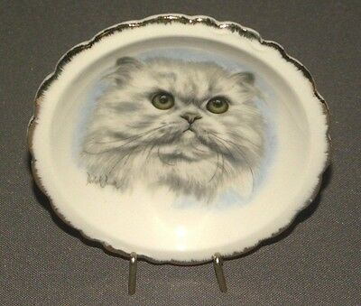 Vintage Decorative Cat Plate Bone China Brinton w Hangar 3""