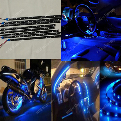 Car Decorative 15LED 30CM 8x BLUE Waterproof Lighting Strip Flexible led Lamp