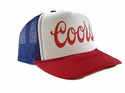 Vintage Coors Beer hat Script Trucker Hat mesh hat red white blue Free Shipping