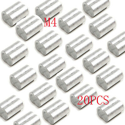 20PCS M4 Wire Rope Aluminum Sleeves Clip Fittings Loop Sleeve Cable Crimps