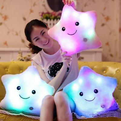 Star Shaped Glowing LED Pillow 7 Color Changing Light Up Soft Cushion Soft Relax