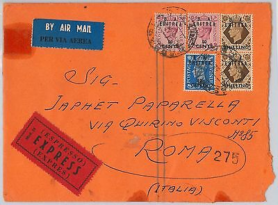 B.A. ERITREA postal history: SG # 23 pair + 20 *2 + 28 on EXPRESS COVER 1952