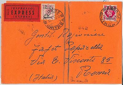 B.A. ERITREA postal history: Sass # 20  + 22 on EXPRESS COVER to ITALY - 1952