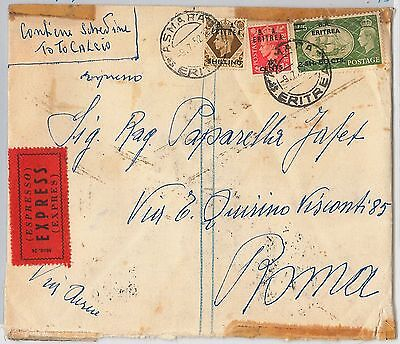 B.A. ERITREA postal history: Sass # 23 + 28 + 31  on EXPRESS AIRMAIL COVER 1952