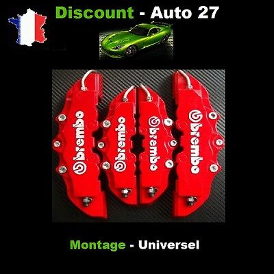 Cache Etrier De Frein Brembo 3D Universel Rouge Tuning Saab 9-5, Aero
