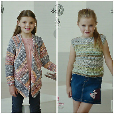 KNITTING PATTERN Girls Easy Knit Waterfall Cardigan & Top/Jumper DK KC 4450