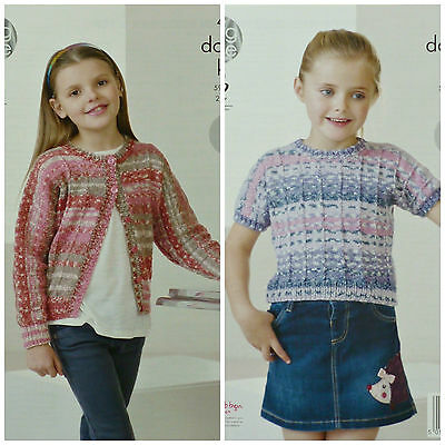 KNITTING PATTERN Girls Easy Knit Dolman Sleeve Cardigan Short Sleeve Top DK 4451