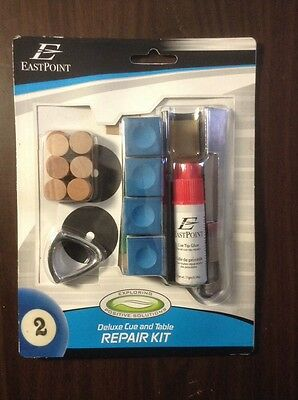 Eastpoint Deluxe Pool Cue & Table Repair Kit Leather Tips Chalk Table Spots More