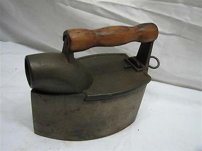 Antique Charcoal Chimney Sad Iron Door Stop Smoothing Clothes Tool Wood Handle