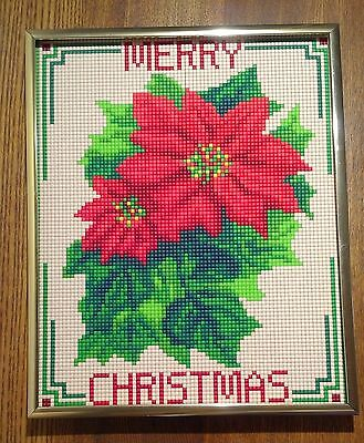 Mosaic, Pixel Art, Poinsettia Merry Christmas Picture