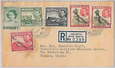MALTA -  POSTAL HISTORY - REGISTERED  COVER to ITALY 1965
