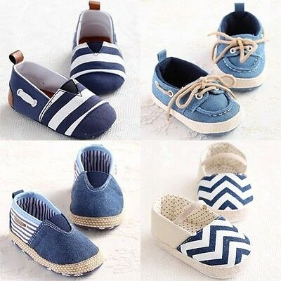 Baby Crib Toddler Boy Girl Blue Shoes Slip-on Trainers 3 Size Newborn to 18Month