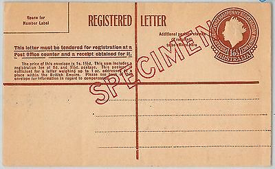 AUSTRALIA -  POSTAL STATIONERY COVER: Registered Letter  overprinted SPECIMEN